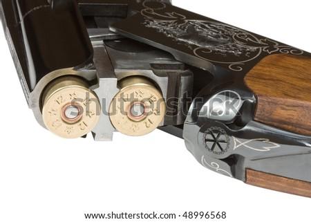 Hunting rifle with ammunition twelve-gauge. Isolated on white. - stock photo