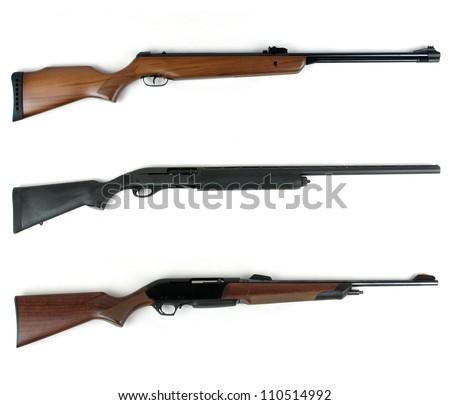 Hunting rifles modern rifles and modern shotgun isolated on white