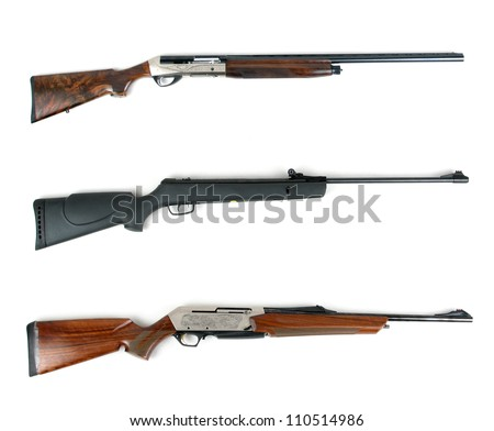 Hunting rifles - modern shotguns and modern rifle isolated on white background - stock photo