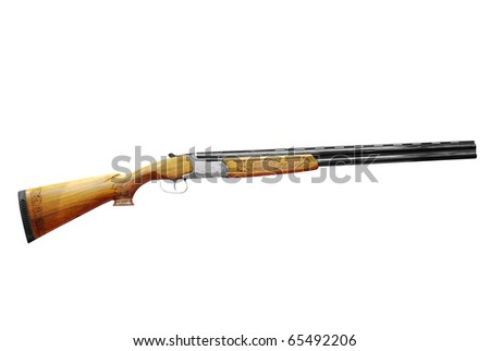 hunting shotgun isolated - stock photo