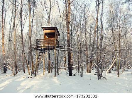 Hunting tower in harsh winter  - stock photo