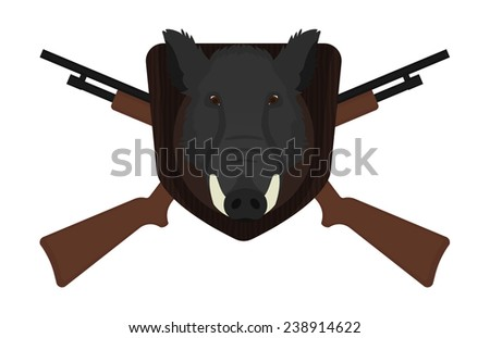 Hunting trophy. Stuffed taxidermy wild boar head with big tusks in wood shield. 2 crossed shotguns. Color illustration isolated on white  - stock photo
