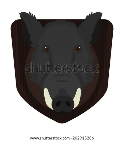 Hunting trophy. Stuffed taxidermy wild boar head with big tusks on wood shield. Color no outline raster illustration isolated on white  - stock photo