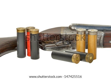 Hunting vintage rifle and cartridges isolated on white background - stock photo