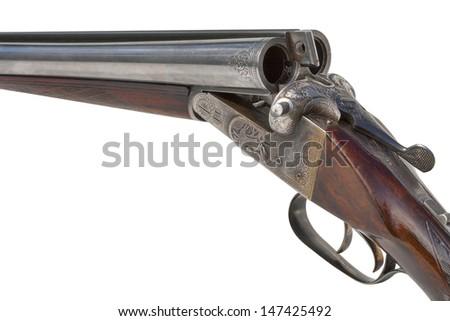 hunting vintage rifle isolated on white background - stock photo
