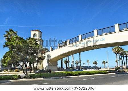 HUNTINGTON BEACH, CA - MARCH 25, 2015: Pedestrian Bridge. The bridge spans the Coast Highway from the Hyatt Regency to the beach side. - stock photo