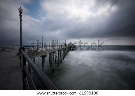 Huntington Beach Long Exposure - stock photo