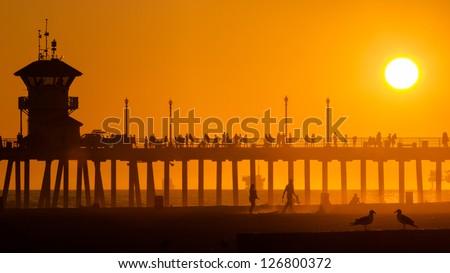Huntington Beach peer - stock photo