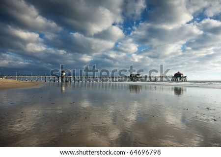 Huntington Beach Pier Afternoon Reflections - stock photo