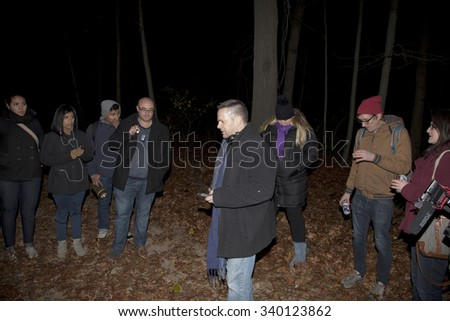 HUNTINGTON, NEW YORK, USA - NOVEMBER 14:The Brooklyn Paranormal Society during their investigation of Mount Misery Road. Taken November 14, 2015 in NY. - stock photo
