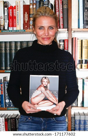 HUNTINGTON, NY - JAN 13: Cameron Diaz signs 'The Body Book: The Law of Hunger, the Science of Strength and Other Ways to Love Your Amazing Body' at The Book Revue on January 13, 2014 in Huntington, NY. - stock photo