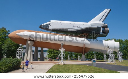 HUNTSVILLE, ALABAMA  APRIL 30 2007: A Space Shuttle, a pair of recoverable solid rocket boosters, and the expendable external tank. - stock photo