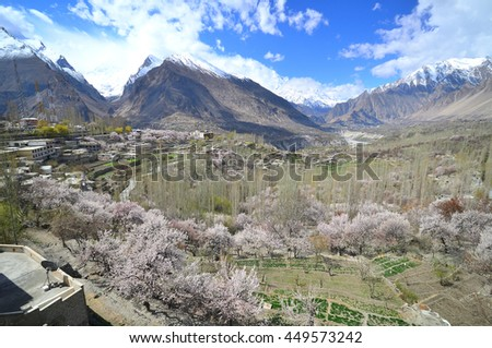Hunza valley along Karakorum mountains with Cherry blossom season in Northern of Pakistan - stock photo