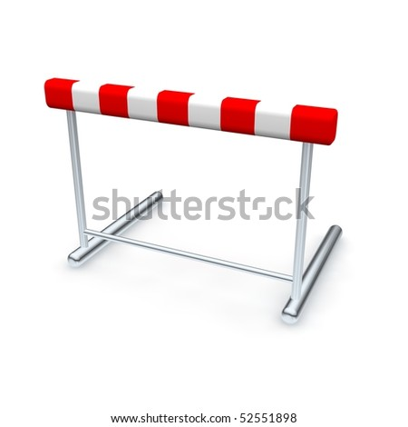 Hurdle. 3d rendered illustration isolated on white. - stock photo