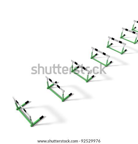 hurdles on white background - stock photo