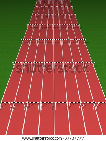 Hurdles track - stock photo