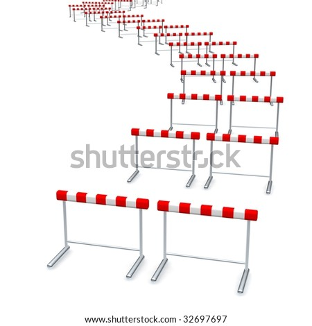 Hurdles track. 3d rendered illustration isolated on white. - stock photo