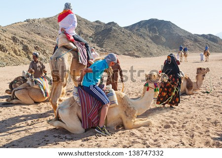 HURGHADA, EGYPT - APR 16:Unidentified people at camel ride on the desert near Hurghada, April 16, 2013. Camel ride on the desert is one of the main local tourist attraction in Egypt. - stock photo