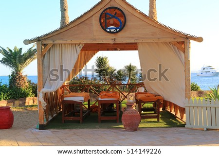 Hurghada, Egypt - Feb. 9, 2016: Massage tables at a resort for relaxation on the Red Sea