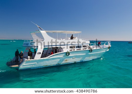 HURGHADA, EGYPT - FEBRUARY 12, 2016: Boat transporting tourists to Paradise Island.