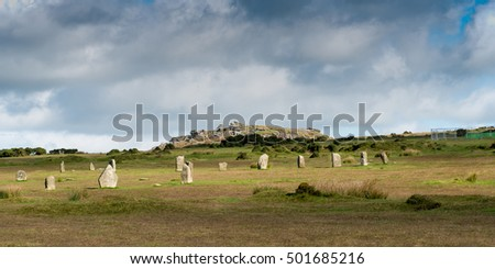 Hurlers Stone Circle with Stowe´s Hill and the Cheesewring near Minions in Bodmin Moor in Cornwall.