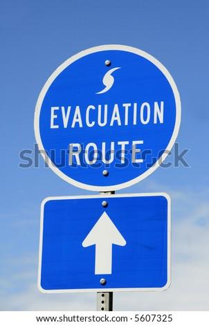 Hurricane Evacuation Route Sign - stock photo