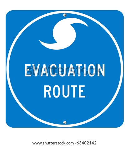 Hurricane Evacuation Sign on white background. Utilizes real road sign font for optimum quality. Clipping Path Included. - stock photo