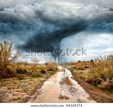 Hurricane, flooded road in prairie and dramatic sky background. Represent apocalypse and disaster - stock photo