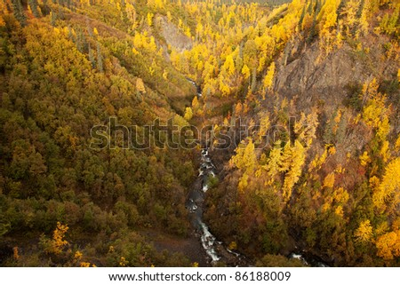 Hurricane Gulch a gorge with a river running through it. Parks Highway Alaska USA
