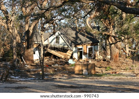 Hurricane Katrina damage to home. - stock photo