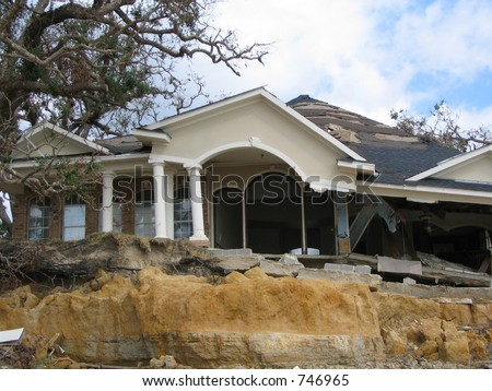Hurricane Katrina home damage near Biloxi , Mississippi - stock photo