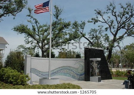 Hurricane Katrina Memorial at Biloxi Mississippi - stock photo