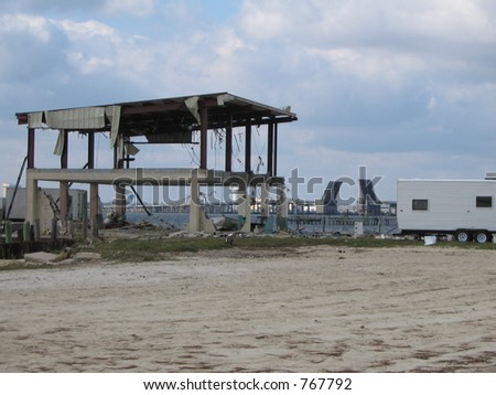 Hurricane Katrina storm surge damage near Biloxi, Mississippi. - stock photo