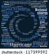 Hurricane swirl in word cloud on black background - stock vector