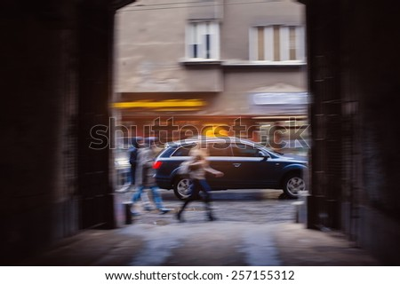 hurrying people in the city streets. - stock photo