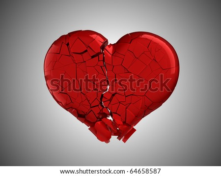 Hurt and pain. Red Broken Heart over grey background - stock photo