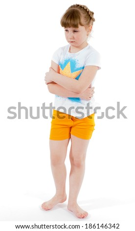hurt, girl, child- little girl was offended.Isolated on white background. - stock photo