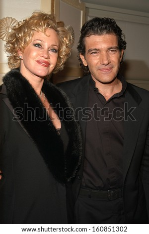 Husband and wife Melanie Griffith and Antonio Banderas arrive at the Rainforest Foundation Benefit Concert afterparty April 21, 2004 at The Pierre hotel in New York City