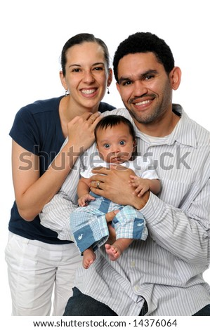 Husband and wife with young son isolated over a white background