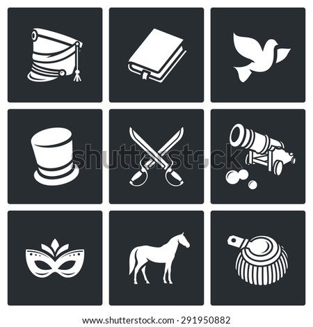 Hussars. The novel War and Peace icons set. Isolated Flat Icons collection on a black background for design - stock photo
