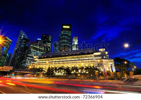 Hustle and bustle of the financial district of Singapore - stock photo