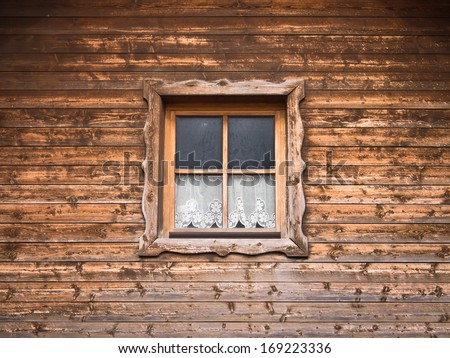 hut and window with curtain 10 - stock photo