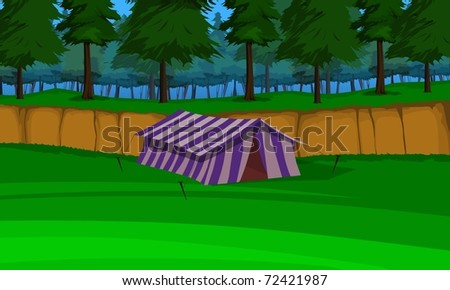 Hut in forest - stock photo