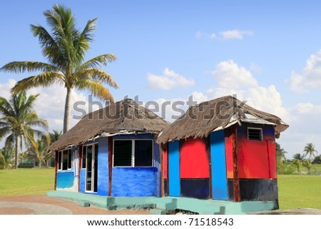 hut palapa colorful with tropical cabin and  palm trees [Photo Illustration] - stock photo