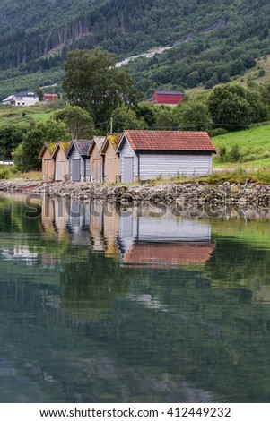 huts near the lake of Flo, Norway
