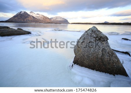 huts of the fishermen turned into cottages for tourism islands logoten Arctic Circle Norway - stock photo