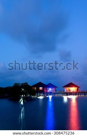 Huts over the Sea in Bintan, Indonesia - stock photo
