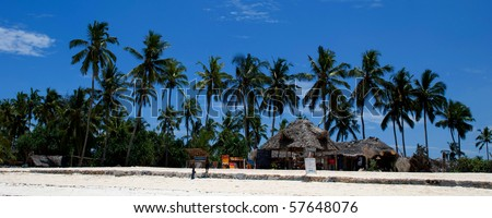 Huts under palm trees on a beach with blue sky