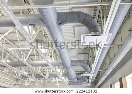 HVAC duct work in a modern building - stock photo