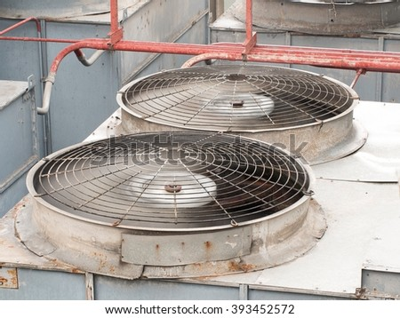 HVAC (Heating, Ventilation and Air Conditioning) spinning blades / Closeup of ventilator / Industrial ventilation fan background / Air Conditioner Ventilation Fan / Ventilation system - stock photo